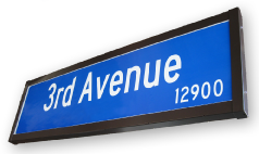 LED Edge Lit Internally Illuminated Street Name Sign